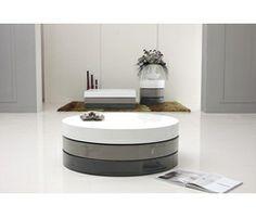 Table basse ronde à plateau rotatif laqué - Aranel   Ps, As and Tables   {Table de salon grise 56}