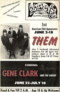 Whisky A Go-Go poster - Them & Gene Clark - 1966.