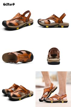 Visit to Buy  New Summer Shoes Men s Leather Sandals Brown Casual Beach  Sandals Slippers Flat Fashion Design Sandals Men Shoes 65c9c2a6d
