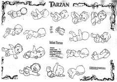Baby Tarzan concept art from Disney's Tarzan