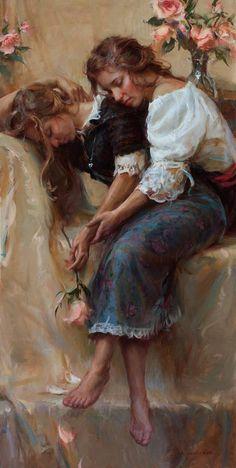 Arte alimenta a minha alma: Veja estas belas pinturas. Romantic Paintings, Beautiful Paintings, Tableaux Vivants, Lesbian Art, Creation Art, Classical Art, Fine Art, Renaissance Art, Aesthetic Art