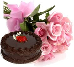 Send this beautiful bouquet of 12 pink roses bouqet and Delicious cake through shop2Vijayawada.com. Convey your greetings and bright wishes to your dear ones by sending this sweet hamper.