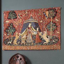 A Mon Seul Desir Tapestry £99.99  Tapestry reproducing the 6th tapestry in the Lady and the Unicorn series, 'À mon seul désir', woven c.1500. The meaning of the tapestry is thought, variously, to represent love, understanding or the renunciation of sin.