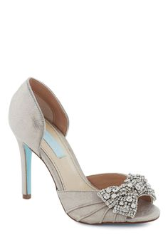 These are beautiful!  One of my bridesmaids should have these shoes!!!  Betsey Johnson Dancing Gleam Heel by Betsey Johnson - Silver, Solid, Bows, Rhinestones, Formal, Peep Toe, High, Leather, Wedding, Bridesmaid, Bride, Prom, Holiday Party, Luxe