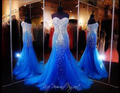 Blue Mermaid Prom-Pageant Dress with Sparkling Crystal Beading - 115EC0151180665
