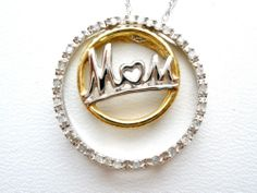 """10K Gold Diamond Mom Necklace Circle of Love 18"""" Long Mother Yellow and White   eBay"""