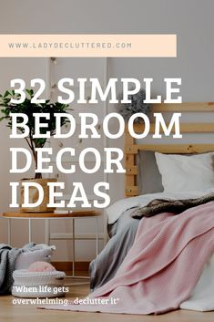 It is time to remove the mismatched furniture and the piles of laundry to be put away and simplify your life by creating our very own minimalist bedroom. Simple Bedroom Decor, Diy Home Decor On A Budget, Affordable Home Decor, Bedroom Ideas, Minimalist Bedroom Boho, Minimalist Home Decor, Mismatched Furniture, Diy Simple, Bedroom Organization Diy