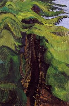 Trees Love To Toss And Sway; They Make Such Happy Noises - (Emily Carr) #tree #forest #green #art #painting