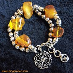 Large Baltic Amber on Silver Earth Bracelet- Fortune