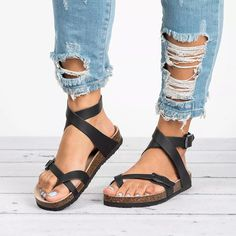 Buy Womens Flat Sandals Ankle Strap Buckle Flip Flop Gladiator Thong Summer Shoes at Wish - Shopping Made Fun Leather Sandals Flat, Flat Sandals, Gladiator Sandals, Sandals Platform, Gold Sandals, Sandals With Straps, Ankle Strap Flats, Greek Sandals, Heeled Sandals