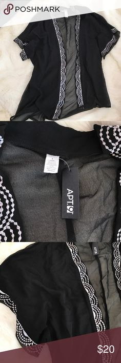 NWT Women's Sheer Kimono Cardigan NWT Never Worn Women's Kimono Cardigan. Sheer black. White embroidery. Apt. 9 Sweaters Cardigans