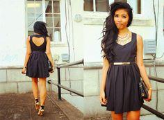 Hollowed Heart Back Black Dress