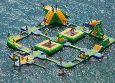 Amazing Inflatable Water Park!  How cool!!