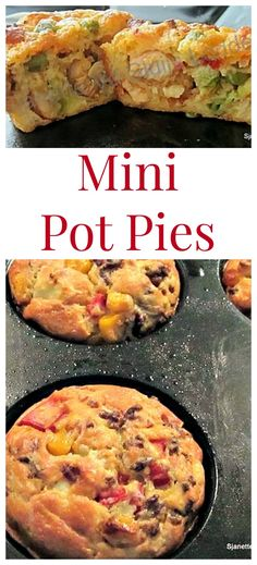 Mini Pot Pies with lots of filling suggestions, such as chicken, beefburger, bacon and crab. There's also a homemade Bisquick Mix recipe Turkey Recipes, New Recipes, Chicken Recipes, Cooking Recipes, Favorite Recipes, Family Recipes, Baked Chicken, Bisquick Mix Recipe, Bisquick Recipes