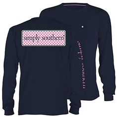 Simply Southern Tees Long Sleeve Pocket Unisex T-Shirt - Pink Checkered Pattern Logo - Color Navy (Small) Simply Southern Tees http://www.amazon.com/dp/B010N26DNM/ref=cm_sw_r_pi_dp_QvtZvb0FWPDJ1