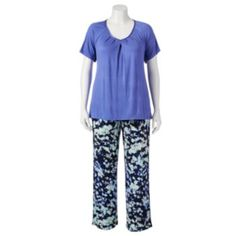 Apt. 9 Pajamas: Pleated Tee & Pants Pajama Set - Women's Plus Size