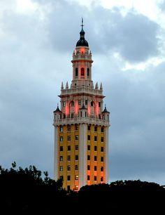 Freedom Tower at twilight, Miami, FL
