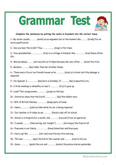 GRAMMAR TEST - English ESL Worksheets for distance learning and physical classrooms Tenses English, English Grammar Exercises, Teaching English Grammar, English Grammar Worksheets, English Language Test, English Test, Grammar Lesson Plans, Grammar Lessons, Teaching Statement