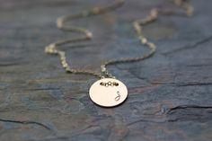 gold initial disc necklace circle monogram small by greygoosegifts