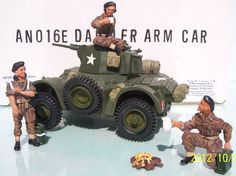 World War II British Army AN16E Daimler Armored Car set - Made by King and Country Military Miniatures and Models. Factory made, hand assembled, painted and boxed in a padded decorative box. Excellent gift for the enthusiast.