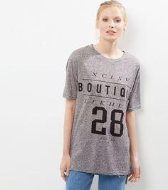 Grey Boutique Stockholm 28 Print Longline T-Shirt | New Look