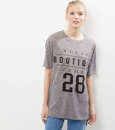Grey Boutique Stockholm 28 Print Longline T-Shirt | New Look