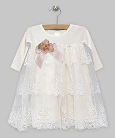 Look what I found on #zulily! Ivory & Toffee Lace Emily Dress - Infant #zulilyfinds