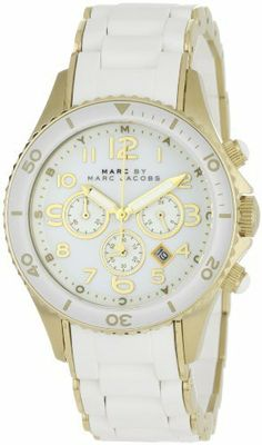 Marc by Marc Jacobs Women's MBM2546 Rock Classic Chronograph White Watch Marc by Marc Jacobs. Save 3 Off!. $242.12. Comfortable silicone and stainless steel band. White case and band. Features chronograph function and date display. All white with gold details. Water-resistant to 165 feet (50 M)