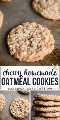CHEWY OATMEAL COOKIES - Easy Cookie Recipes - Chewy Oatmeal Cookies, just like Grandma used to make, are the best cookies that take you straight - Homemade Oatmeal Cookies, Healthy Oatmeal Cookies, Oatmeal Cookie Recipes, Oatmeal Chocolate Chip Cookies, Easy Cookie Recipes, Baking Recipes, Dessert Recipes, Oatmeal Cookies With Applesauce, Cookies With Oats