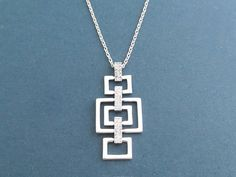 Modern Square Cubic Silver Necklace Dangling Necklace