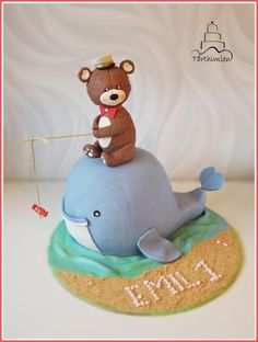 Whale cake - Cake by Ewa First Birthday Cakes, Birthday Cake Toppers, Whale Cakes, Teddy Bear Cakes, Animal Cakes, Edible Glitter, Take The Cake, Occasion Cakes, Cakes For Boys
