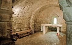 A underground (or partly underground) chamber, usually located beneath the chancel, for holy relics and burials. Crypts could be extremely large and might contain one or more altars in separate chapels. Crypts might hold the shrine of a saint, and thus woulds have to be large enough to accommodate pilgrims coming to pray at the shrine. Most cathedrals have sizeable crypts, while one of the best preserved crypts in a parish church is at Lastingham, Yorkshire.