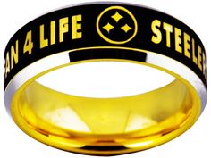 Pittsburgh Steelers Ring Black and Yellow Gold Tungsten Ring NFL Sizes 6 - 14 Steelers Rings, Steelers Helmet, Pitsburgh Steelers, Pittsburgh Steelers Logo, Steelers Stuff, Super Bowl Rings, Steeler Nation, Championship Rings, Black Rings