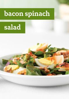 Bacon Spinach Salad – It's hard to find a more appealing, smart, Healthy Living salad option. Spinach lays the foundation while turkey bacon, hard-cooked eggs and mushrooms top things off grandly.