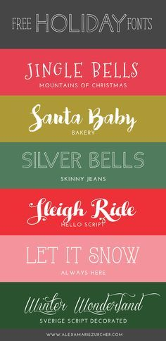 Free Holiday Fonts (He and I) - Fonts - Ideas of Fonts - Can you believe Christmas is in a week? I meant to share this post earlier but you know procrastination at its finest! If youre looking for a few festive fonts for last minute gift tags and su Holiday Fonts, Christmas Fonts, Christmas Projects, Christmas Ideas, Holiday Logo, Merry Christmas, Hallmark Christmas, Christmas Design, Homemade Christmas