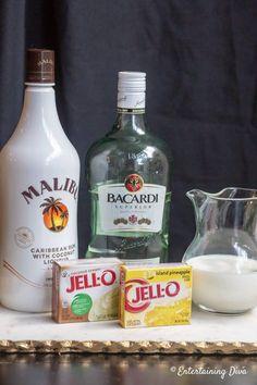 Pina Colada Jello Shots (With Coconut Cream Pudding) - Entertaining Diva Recipes @ From House To Home Pina Colada Jello Shots Recipe, Margarita Jello Shots, Best Jello Shots, Champagne Jello Shots, Jello Shooters, Jello Shot Recipes, Alcohol Recipes, Malibu Jello Shots, Yummy Shots