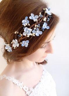 light blue flower crown, sky blue hairpiece, floral crown, prom, bridal headband, flower girl, pale blue, hair vine, garland, rustic wedding