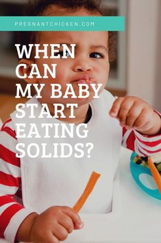 Wondering when your baby should start eating solids is normal for new parents. Here's the whens, whys, First Time Parents, New Parents, New Moms, Baby Tips, Baby Hacks, Robert Wood Johnson, Pregnancy Calendar, Starting Solids, Newborn Baby Care