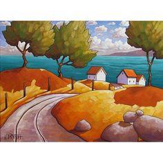 """Modern Ocean Road"" Folk Art by SoloWorkStudio. $395.00, via Etsy."