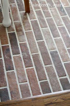 DIY Faux Brick Flooring - Sincerely, Marie Designs - home. Entryway Flooring, Porch Flooring, Linoleum Flooring, Best Flooring, Brick Flooring, Diy Flooring, Floors, Flooring Ideas, Painting Linoleum