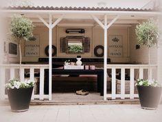 Veranda - love the symmetry Porch Veranda, Porch And Balcony, Outdoor Rooms, Outdoor Living, Outdoor Decor, Back Gardens, Outdoor Gardens, Porches, Dream Garden