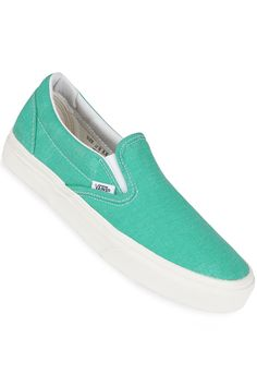 Vans Classic Slip-On Shoe women (wash pool green)  lt 3 Green 395433ee9