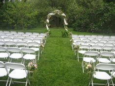 An outdoor ceremony and a beautiful structure by Buttercup for Amanda & Shane at Tyler Arboretum