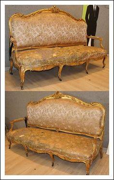 Divano Barocchetto Luigi XV dorato intagliato