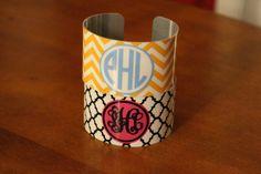 Personalized Monogramed Cuff Bracelet Quatrefoil by BeachyMommas