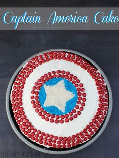 For little man's birthday! Captain America Cake -- this is totally doable