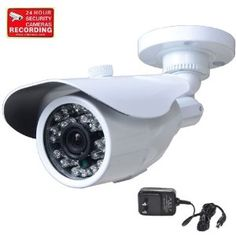 """VideoSecu CCTV Home Surveillance Outdoor IR Bullet Security Camera Color CCD Day Night 24 Infrared LEDs with Bonus Power Supply IR24W C2M Price: $35.99 Color CCD image sensor. Signal system NTSC Build-in 24 infrared leds for night vision.   Cable Management and    Horizontal resolution: 420TVL; Minimum illumination: 0.0 Lux; Lens: 3.6mm      Weatherproof camera housing prevent from water, dust      Bonus 12V DC power supply and mounting bracket. Bonus security warning decal 3""""x2"""""""