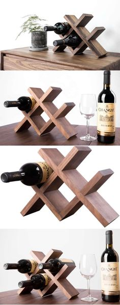 Black Walnut Wooden Wine Bottle Holder Storage Rack -Handmade Wood Bottle Hold… - All For Garden Wooden Wine Bottle Holder, Wine Bottle Display, Wood Wine Racks, Wine Glass Holder, Wine Bottle Holders, Wine Bottle Crafts, Wine Bottle Storage Ideas, Wine Caddy, Wine Bottles