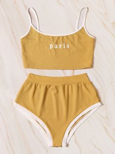 Shop Letter Print Rib Lingerie Set at ROMWE, discover more fashion styles online. Jolie Lingerie, Lingerie Outfits, Pretty Lingerie, Lingerie Set, Lingerie Dress, Cute Comfy Outfits, Cool Outfits, Summer Outfits, Teen Fashion Outfits