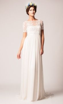 Pleated Gown with Sheer Sleeves (Temperley London)